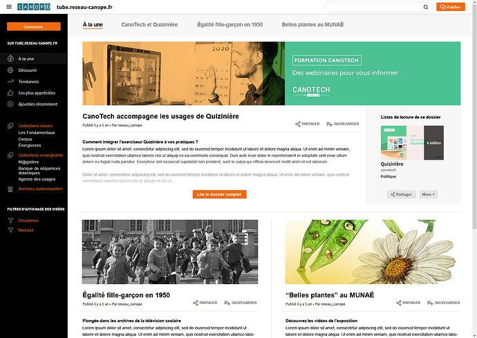 Peertube-page-éditorialisée-sommaire-à-la-une