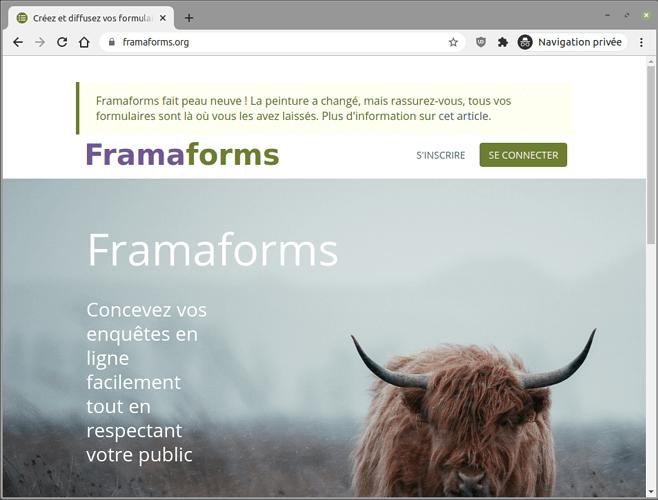 Créez et diffusez vos formulaires facilement  Framaforms.org - Iron_742